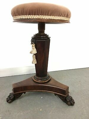 Victorian rise and fall piano stool on paw feet #2200L
