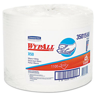 KIMBERLY CLARK X50 Wipers, 9 4/5 x 13 2/5, White, 1100/Roll 35015