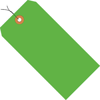"""Box Partners Shipping Tags Pre-Wired 13 Pt. 3 3/4"""" x 1 7/8"""" Fluorescent Green"""
