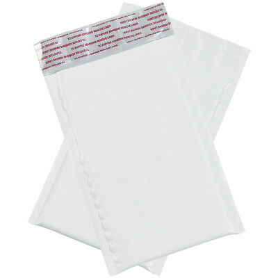 """Box Partners Bubble Lined Poly Mailers 4"""" x 8"""" White 500/Case B828"""