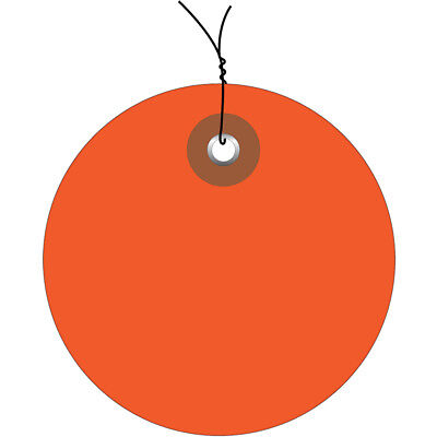 """Box Partners Plastic Circle Tags Pre-Wired 3"""" Orange 100/Each G26074W"""