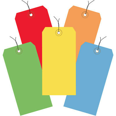 "Box Partners Shipping Tags Pre-Wired 13 Pt. 4 3/4"" x 2 3/8"" Assorted Color 1000"