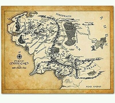 The Hobbit Middle Earth Map Framed Print Movie Poster Wall Art  J. R. R Tolkien
