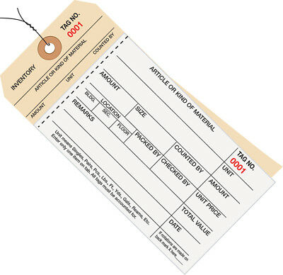 Box Partners Inventory Tags 2 Part Carbonless Stub Style #8 Pre-Wired (0001-0499