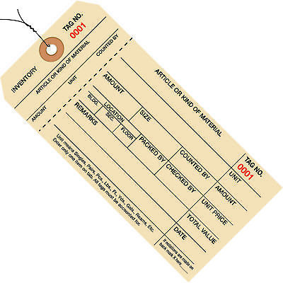 "Box Partners Inventory Tags 1 Part Stub Style #8 Pre-Wired (2000-2999) 6 1/4"" x"