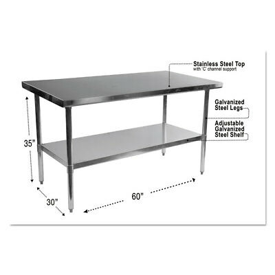 Alera Stainless Steel Table, 60 x 30 x 35, Silver XS6030