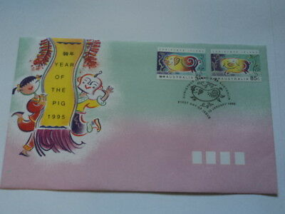 Christmas island FDC first day cover 1995 Year of the pig