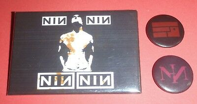 Badge / Button Lot of 3 : NIN : NINE INCH NAILS : Used