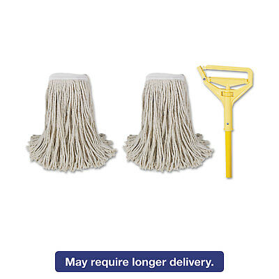 "Boardwalk Cut-End Mop Kits #24 Natural 60"" Metal/Plastic Handle Yellow 5324C"