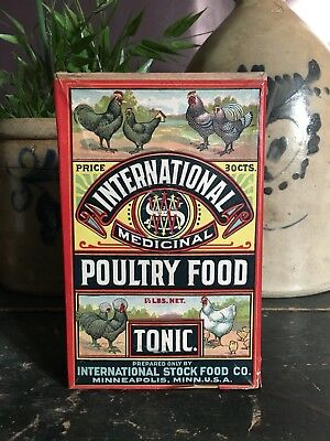 Antique International Medicinal Poultry Food Chicken Farm Advertising Feed Box