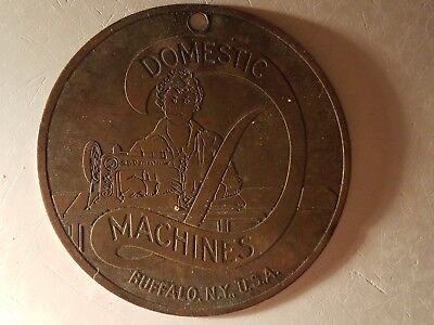 DOMESTIC SEWING MACHINE Antique Key Fob AMERICAN INDUSTRIAL
