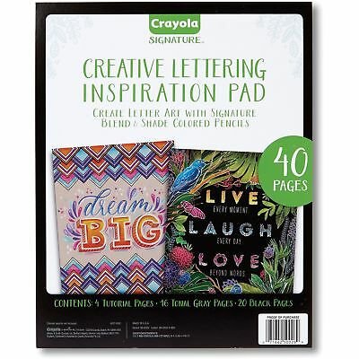 Crayola Lettering Pad w/Tutorial 40 Pages Black/Gray Paper 990026