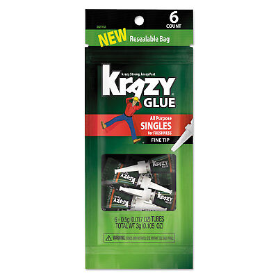 Krazy Glue All-Purpose Super Glue Single-Use Tubes, 0.017 oz, Clear, 6/PK