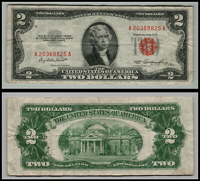 1953 $2 Dollar Bill Old Us Note Legal Tender Paper Money  Red Seal =G756