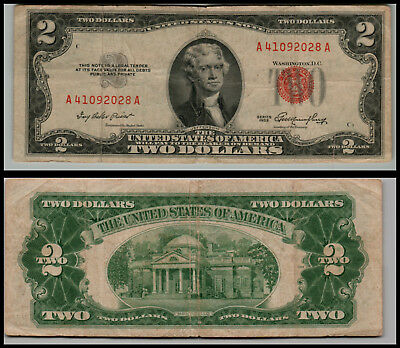 1953 $2 Dollar Bill Old Us Note Legal Tender Paper Money  Red Seal =G761