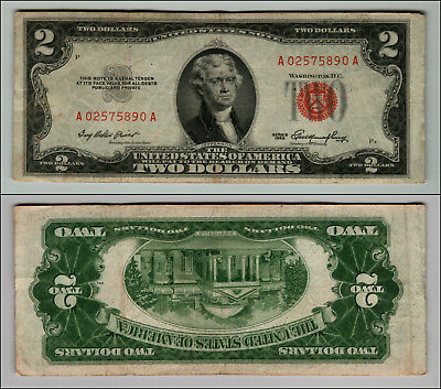 1- 1953 Series $2 Dollar Bill Red Seal United States Currency LOT Z916