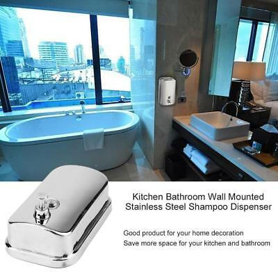 Bathroom Stainless Steel Shampoo Dispenser Lotion Pump Action Wall Mounte JS