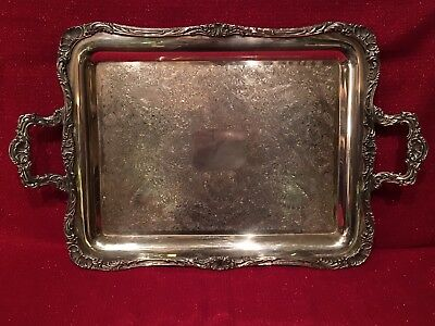 Antique Large Silverplate Tea Butlers Tray Silver On Copp Excellent Condition