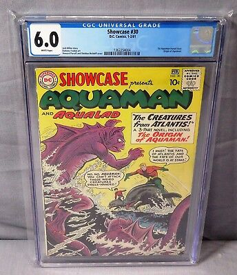 SHOWCASE #30 (Aquaman 1st Silver Age tryout) CGC 6.0 FN White Pgs DC Comics 1961