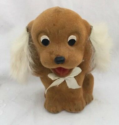 Vintage Hong Kong  FUZZY WUZZY Flocked PUPPY DOG Rabbit Fur Ears Cocker Spaniel