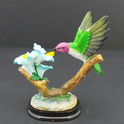 Hummingbird Blue Flowers Statue on Wood Base Small Bird Figurine Collectible