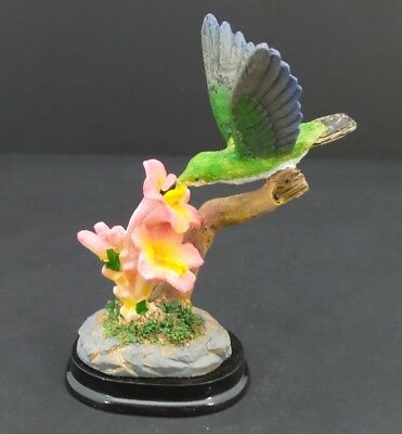 Hummingbird Pink Flowers Statue on Wood Base Small Bird Figurine Collectible B