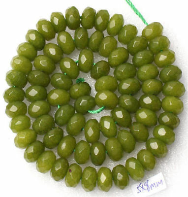 """5x8mm Faceted Abacus Peridot Loose Beads Gemstone 15"""""""