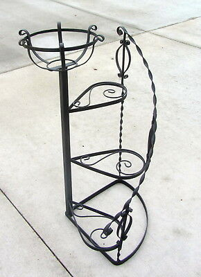 Vintage Spiral Step Wrought Iron Black Plant Stand Patio Mid Century Garden