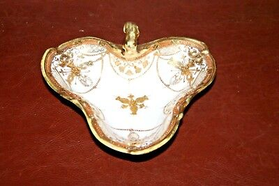 Hand Painted Fine Japanese RC Nippon White & Gilt Porcelain Nappy Dish w/ Handle