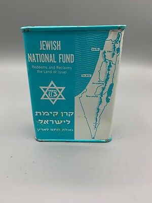 Vintage Jewish National Fund Redeems & Reclaim Land of Israel Donations Tin Box