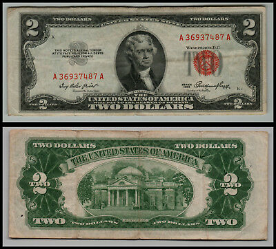 1953 $2 Dollar Bill Old Us Note Legal Tender Paper Money  Red Seal =E983
