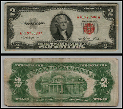 1953 $2 Dollar Bill Old Us Note Legal Tender Paper Money  Red Seal =G771