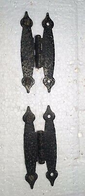 "Antique Hammered Black Cabinet Hinge Set, 2 1/2"" OC"