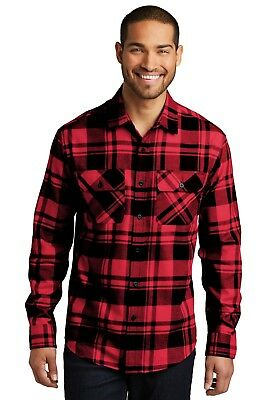 Mens Plaid Flannel Shirt 2 Chest Pockets Checkered Casual Very Soft Cotton-blend