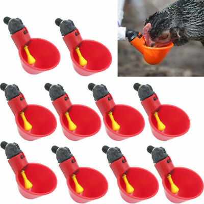 10 Pack Poultry Water Drinking Cups- Chicken Hen Plastic Automatic Drinker NEW