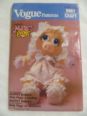 80's Sewing Pattern Vogue #8967 Muppet Babies Baby Miss Piggy UNCUT Doll Clothes