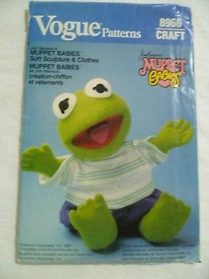 80's Sewing Pattern Vogue #8966 Muppet Babies Baby Kermit Frog UNCUT Doll Clothe