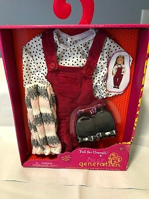 Our Generation Fall For Overalls Outfit Set Doll Clothes New in Box Free Ship