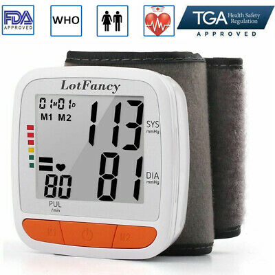 Wrist Blood Pressure Monitor Machine BP Cuff Heart Beat Rate Pulse Talking Meter