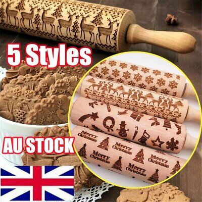 Christmas Rolling Pin Engraved Rolling Pin Wooden Embossed Rolling Pin AU Stock