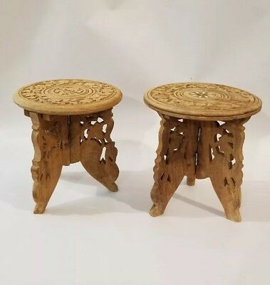 """Anglo-Indian Rosewood Teak Folding Tables Set of 2  Carved Wood Swan 6"""" x 6"""""""