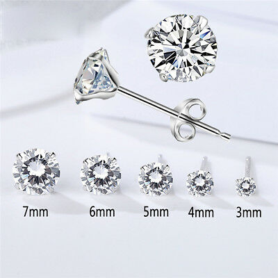Solid 925 Sterling Silver CZ Round Stud Piercing Studs Earrings Ladies 3MM-7MM