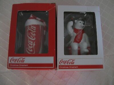 COCA COLA POLAR BEAR & COKE CAN Christmas Tree Ornaments Kurt Adler NIP