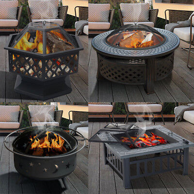 Outdoor Metal Firepit Square Table Patio Round Stove Fire Pit Log Burner w/Poker