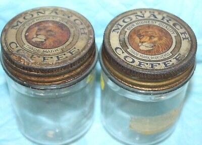 "Vintage Monarch Coffee Lot Of 2 Glass Jars About 4"" Tall"