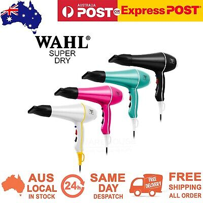 WAHL SUPER DRY DRYER 2000W Hair Dryer Tourmaline Ionic 2 Nozzles ALL COLOURS