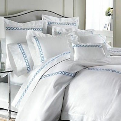 $925 Pratesi Lucilla SATEEN HOTEL SWEET KING Duvet Cover Blue Embroidered Italy