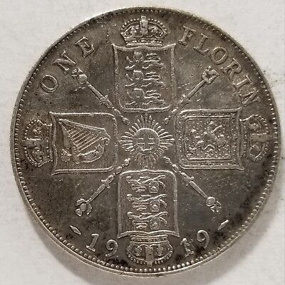 1919 Great Britain Silver One Florin Two Shillings Coin KM# 817