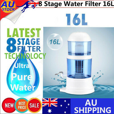 16L Water Filter Ceramic Carbon Mineral Benchtop Dispenser Purifier System Top