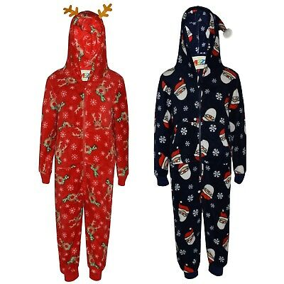 Kids Girls Boys Rudolph Santa Claus Extra Soft A2Z Onesie One Piece Xmas Costume